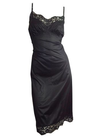 fa1c2ac00977a Sophisticated Deep Black Tricot Nylon and Lace Full Slip circa 1950s 3 -  Dorothea's Closet Vintage