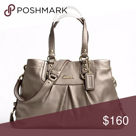 """Gorgeous Coach Ashley Leather Carryall 100% Authentic Coach Purse Made of gorgeous Leather, the color is """"Steel"""" which is a greyish bronze color....carried just a few times  Magnetic closure Handles with 7 1/4"""" drop Longer strap for shoulder wear (removable)  Size: 12 1/2"""" (L) x 8"""" (H) x 4 1/2"""" (W) Coach Bags"""