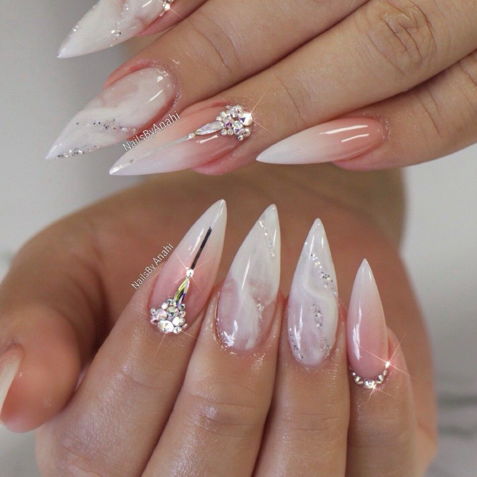 Ombre/BabyBoomer Acrylic Full Set with a touch of Marble ...