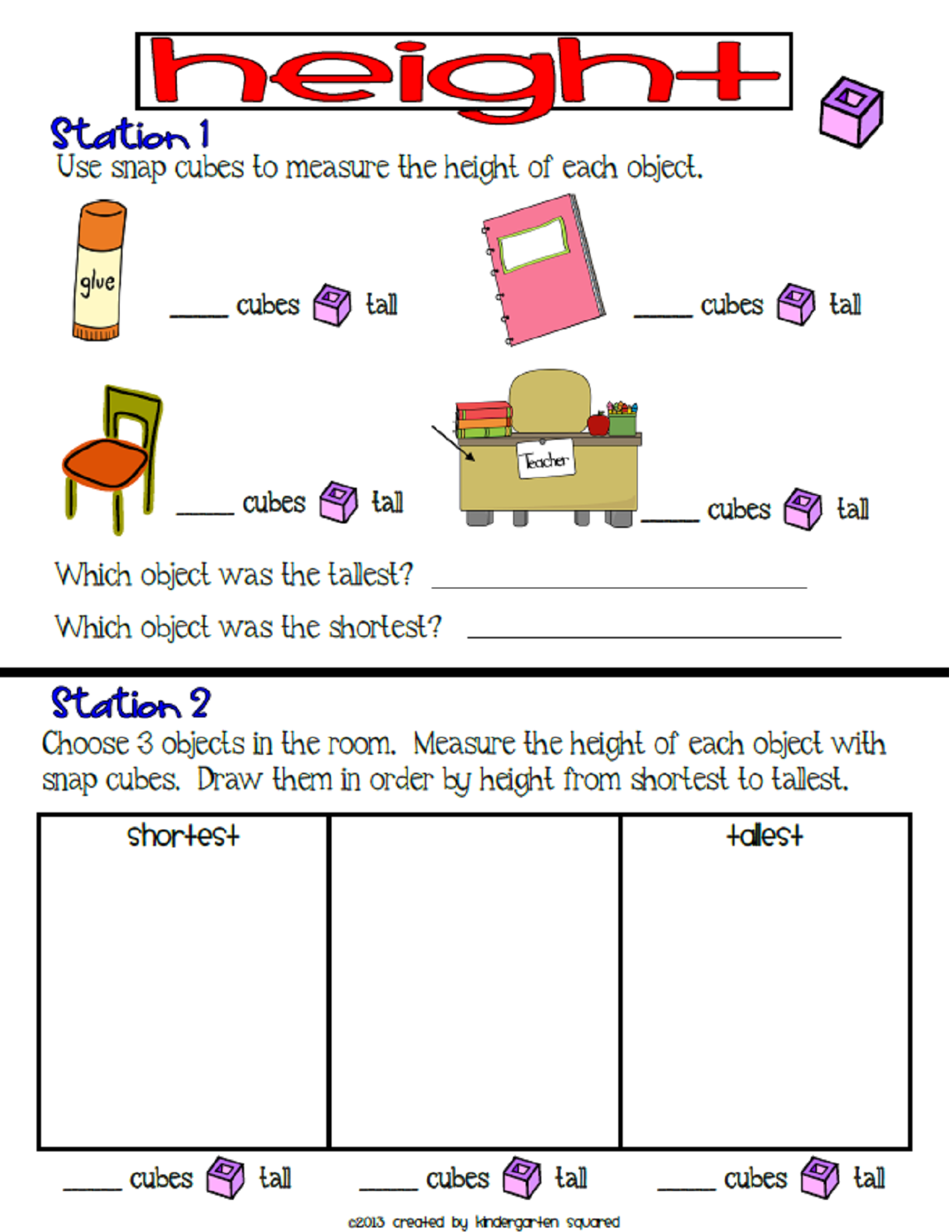 Measurement Common Core Kindergarten Math Unit 5