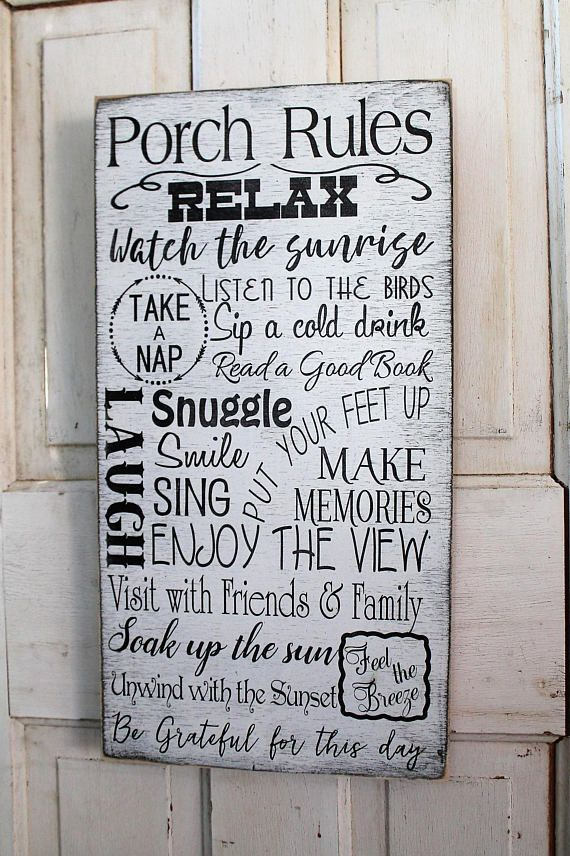 Porch Rules Sign Front Porch Rules Back Porch Rules Shabby Chic