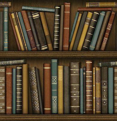 Fine Decor Distinctive Bookcase Wallpaper Library Study Book Shelf FD40546 Brown Paintable
