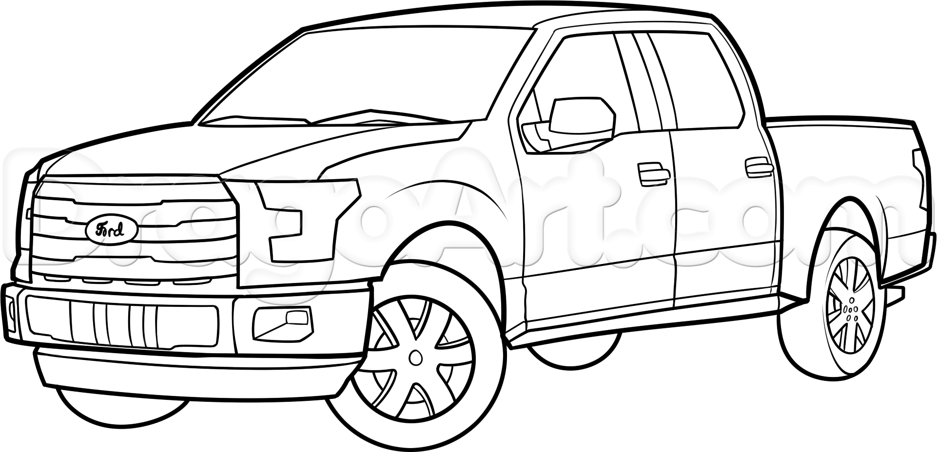 How To Draw An F 150 Ford Pickup Truck Step 11