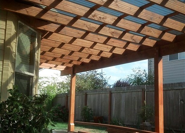 This Patio Cover Made With Kiln Dried Doug Fir Frame Is Covered With A  Suntuf Polycarbonate Roofing Material And Complimented With A Continuous  Gutter And ...