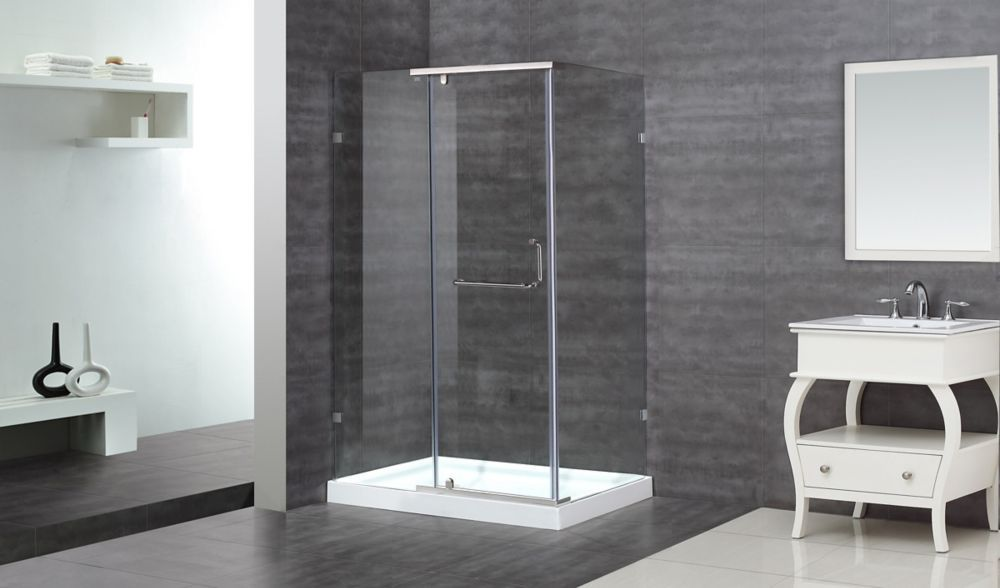 48 Inch X 35 Inch X 77 1 2 Inch Semi Frameless Shower Stall In Chrome Frameless Shower Enclosures Frameless Sliding Shower Doors Frameless Shower