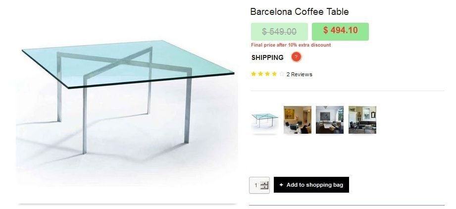 Replica Barcelona Coffee Table Furniture Online Thailand ช อป