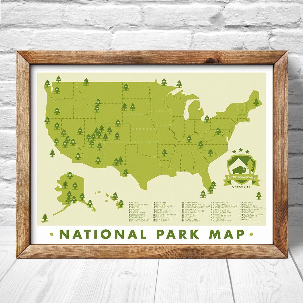 National Park Map, Print Outdoors Wall Art Hiking Art Print ...