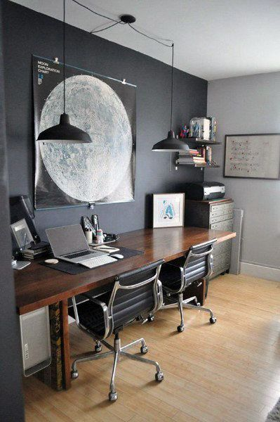 75 Small Home Office Ideas For Men Masculine Interior Designs Home Office Space Home Office Decor Home Office Design
