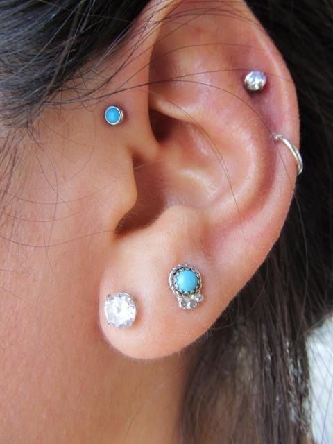 Multiple Piercings Turquoise Silver Piercings Perforaciones