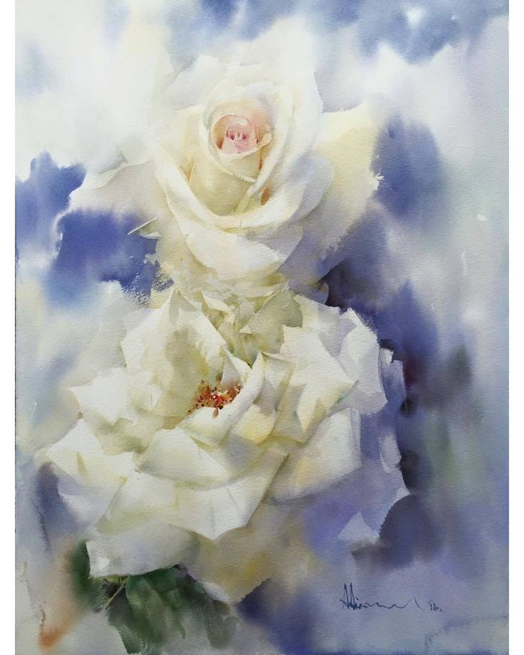 Hudozhni In 2020 Watercolor Flowers Paintings Watercolor Rose