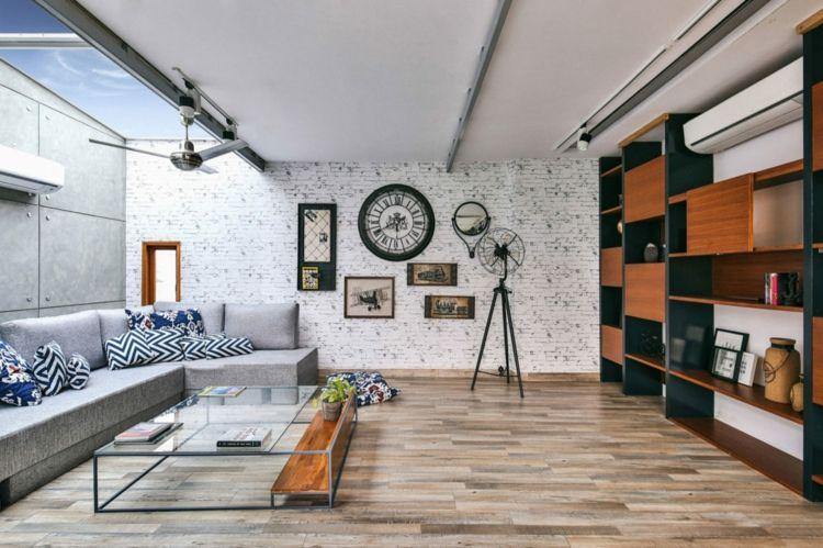 einraumwohnung einrichten wohnzimmer-wohnwand-regal-backstein-weiß - wohnzimmer wohnwand weiß