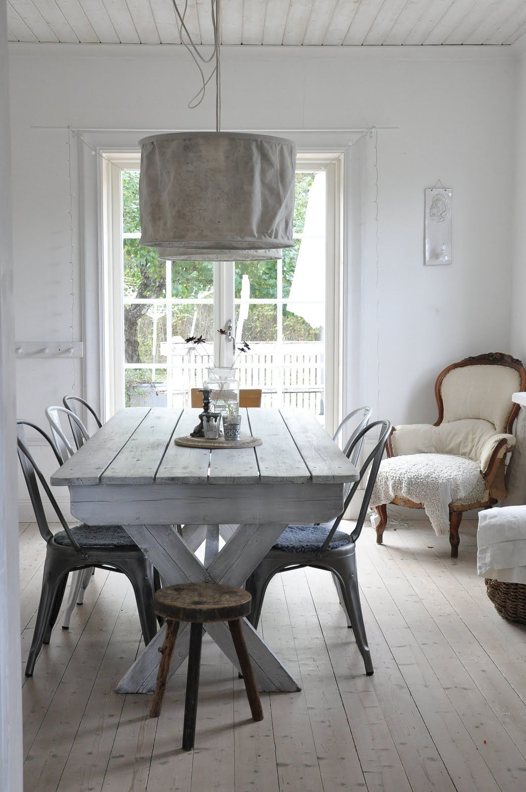 metal + wood. Love the whitewashed table | There\'s No Place Like ...