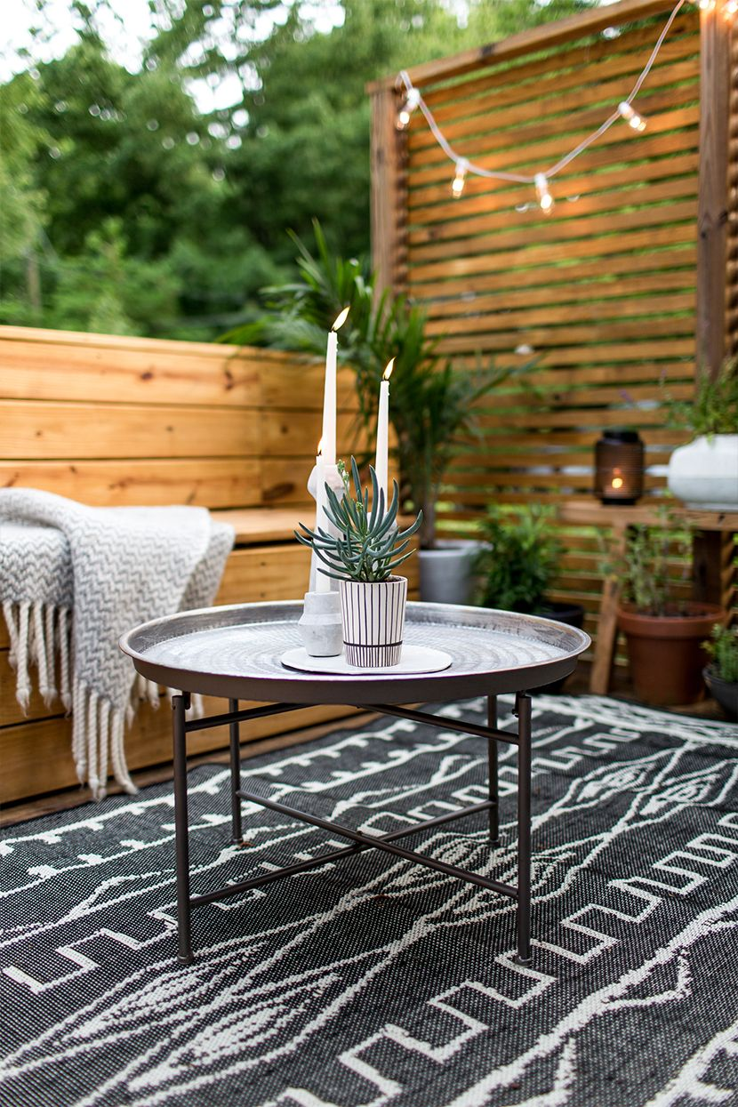 i love the way this patio looks especially the rug and coffee table both from at home which has a store in co she gives a great explanation of how she - Outdoor Patio Looks