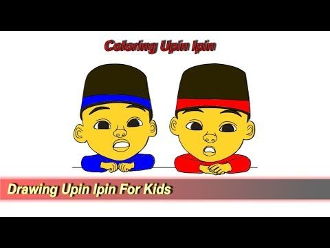 Drawing And Coloring Upin Ipin For Kids Tutorial Youtube