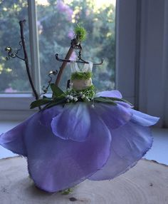 Fairy's Work by Olive* Miniatures , Dress Found in the Garden... Miniature Fairy Dress with B... Fairy's Work by Olive* Miniatures , Dress Found in the Garden... Miniature Fairy Dress with Branch Dress Stand ~ Handcrafted by Olive,