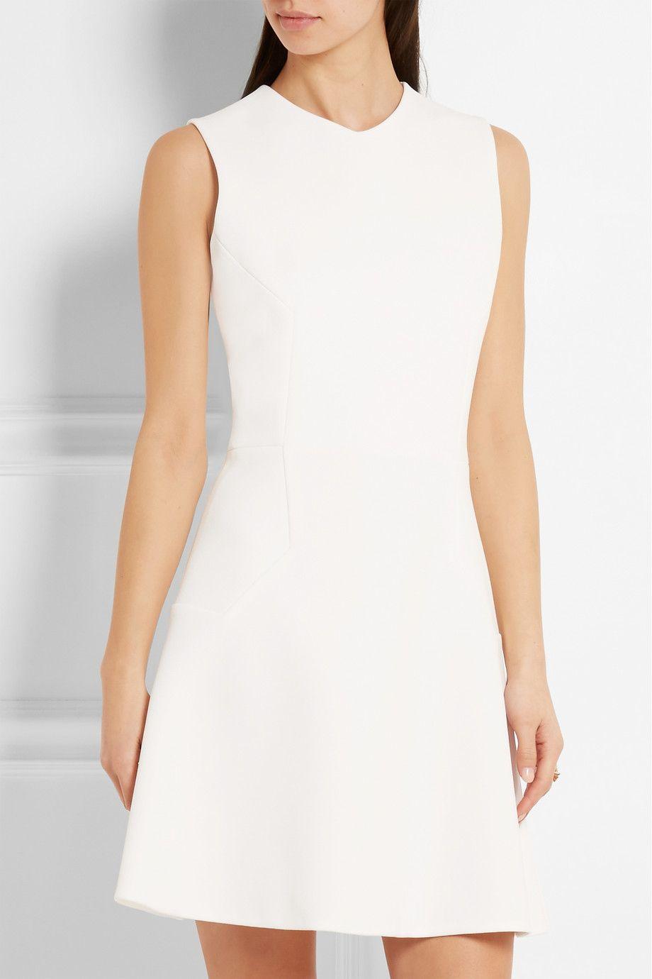 White Crepe Mini Dress Victoria Beckham Fit Flare Dress Womens Dresses Dresses [ 1380 x 920 Pixel ]