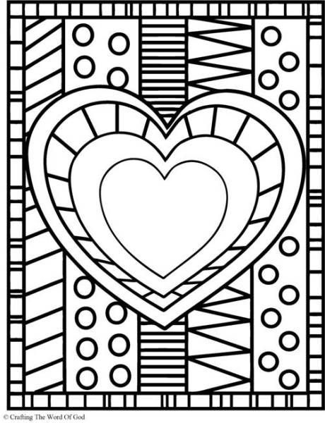 Heart Coloring Page Adult Printables Heart Coloring Pages