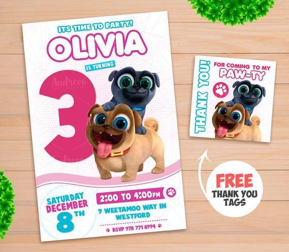 Puppy Dog Pals Invitation Girls Birthday Invitation Puppy Dog Pals Birthday Puppy Dog Pals Invite Puppy Dog Pals Party Supplies Girl Birthday Dogs Puppies Birthday Invitations