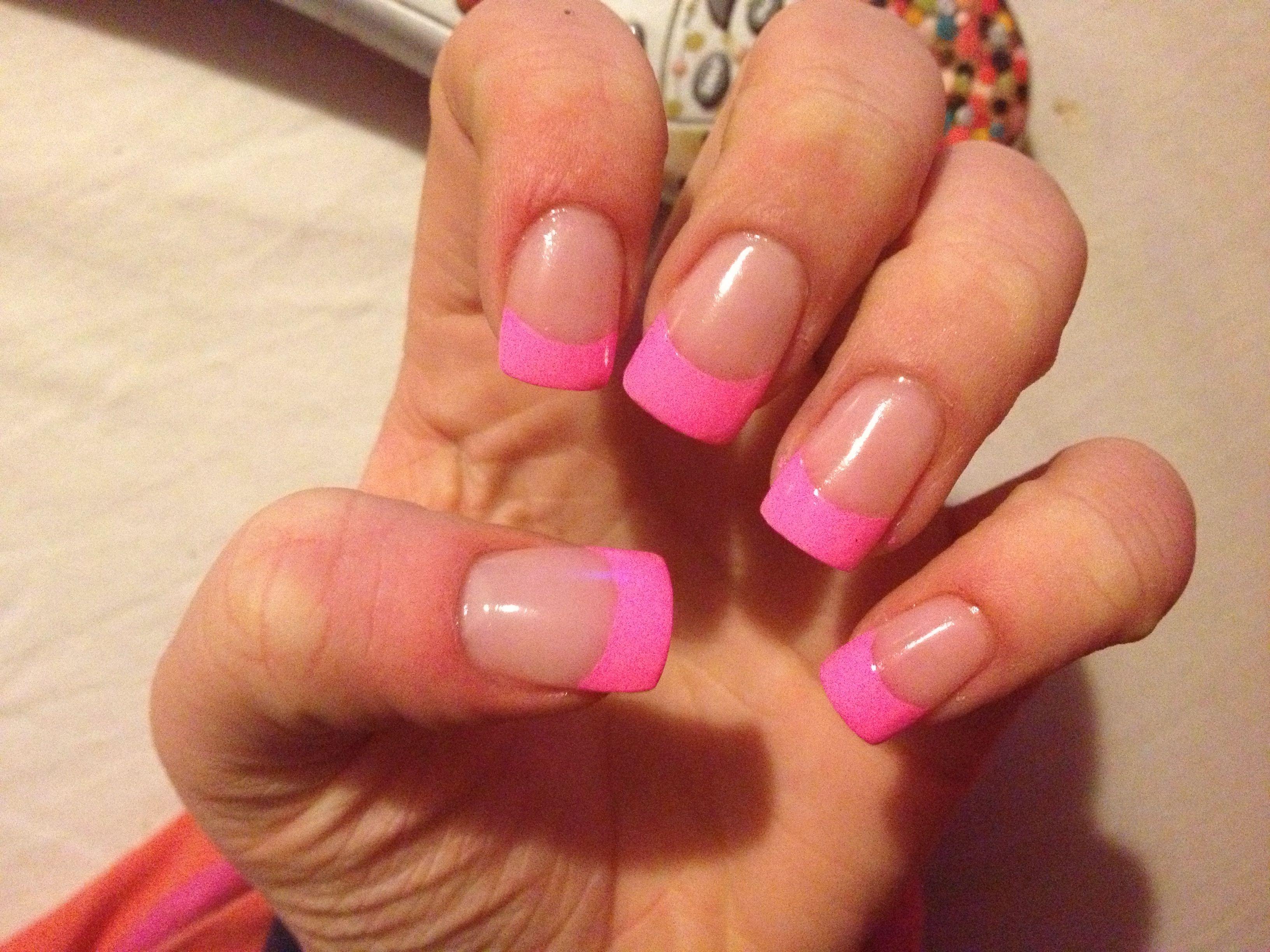 Hot Pink Tips Acrylic Nail Tip Design Art Nail Designs By Me