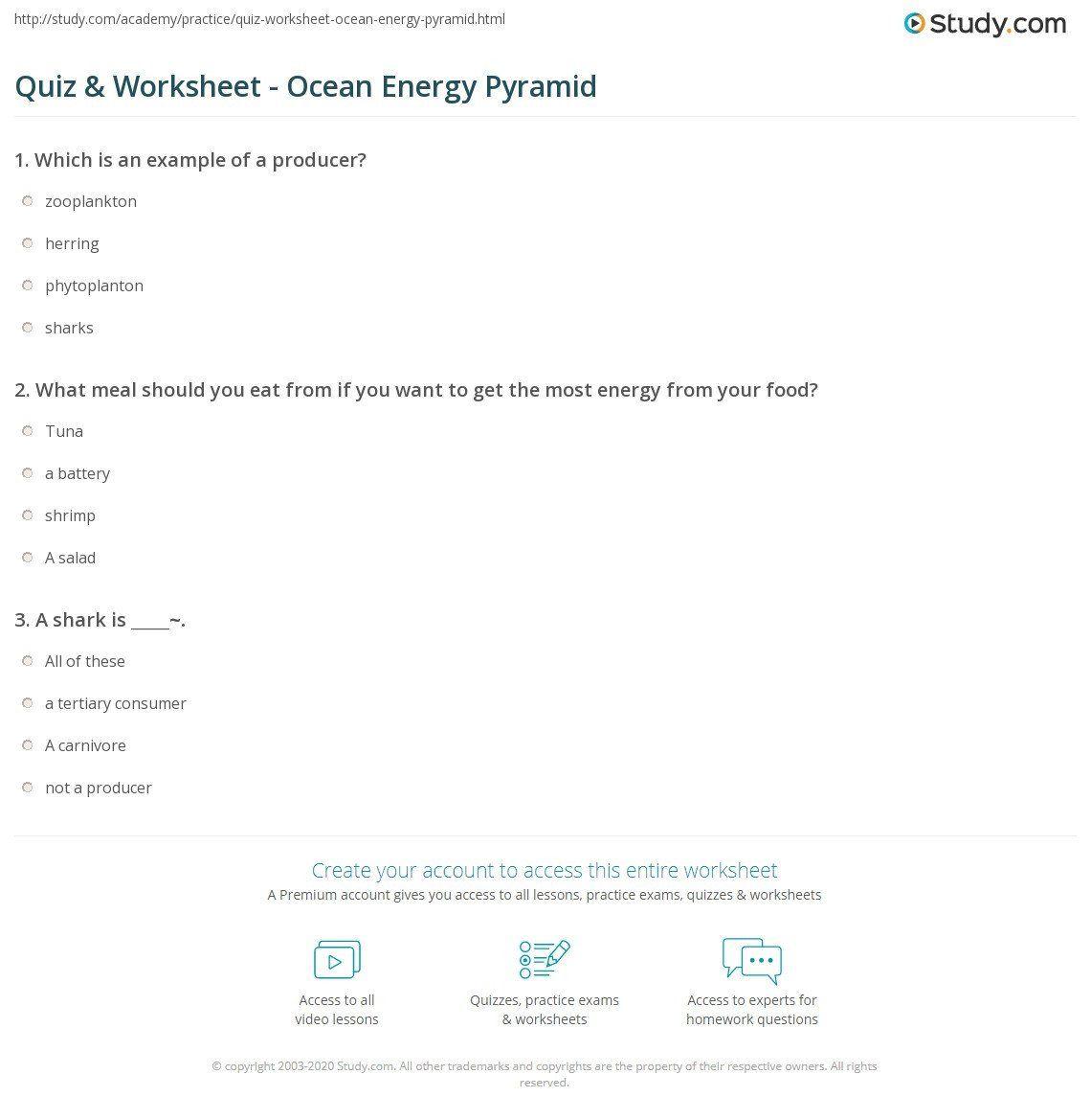 Energy Pyramid Worksheet Answers Quiz Amp Worksheet Ocean