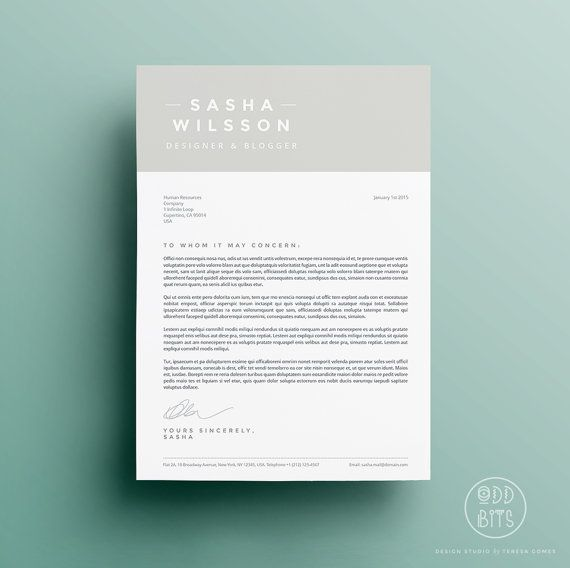 Resume Cv Design Cover Letter Template Instant Par Oddbitsstudio