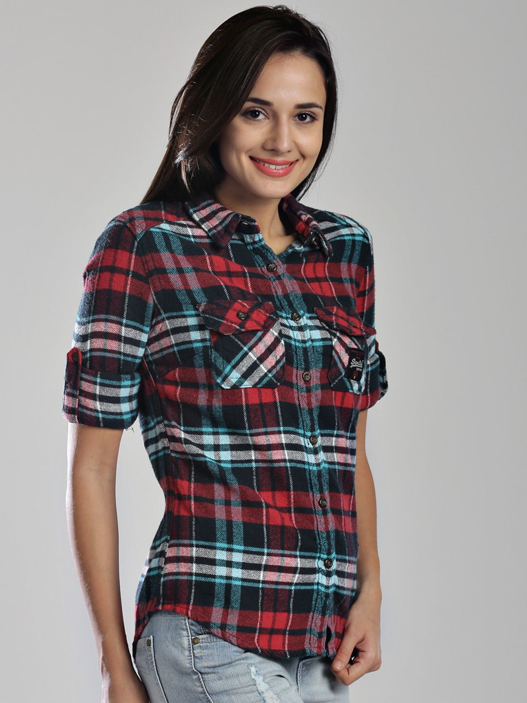 Red Check Flannel Shirt Womens bc09d39277