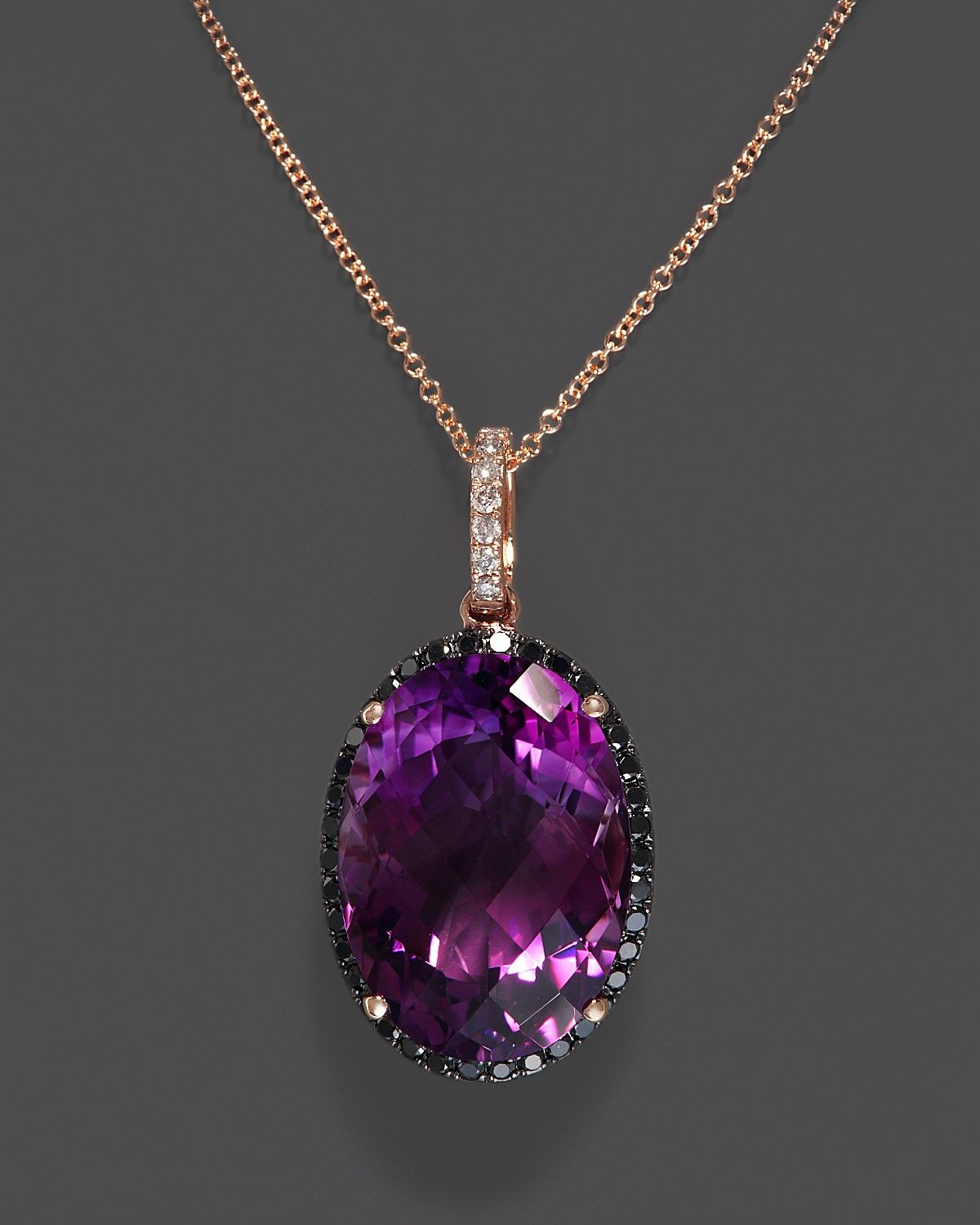 Amethyst Pendant Necklace With Black And White Diamonds In 14k Rose Gold 18 Fine Jewelry Bloomingdale S Purple Jewelry Amethyst Necklace Pendant Amethyst Pendant