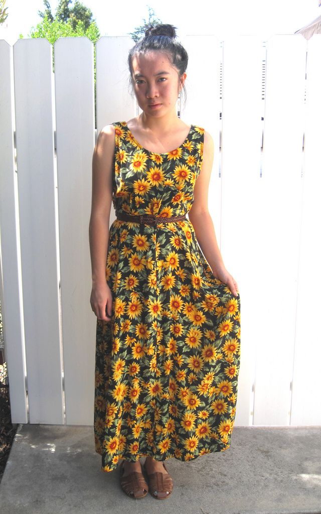 sunflower clothing | Vintage sunflower printed maxi dress, thrifted