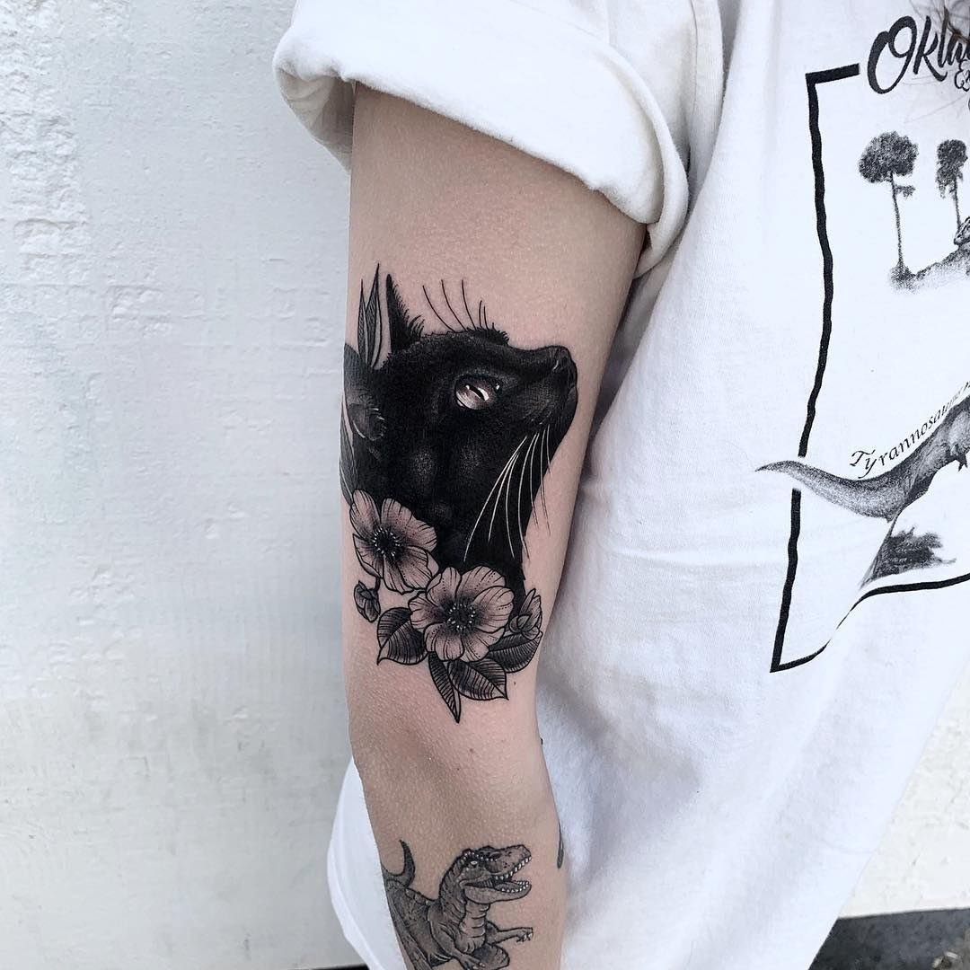 "Chris Stockings on Instagram: ""Done this black cat today! 🕸 Always happy to do different styles of tattooing. Just happy to know people want me to tattoo them 🙌🏼 thanks…"""