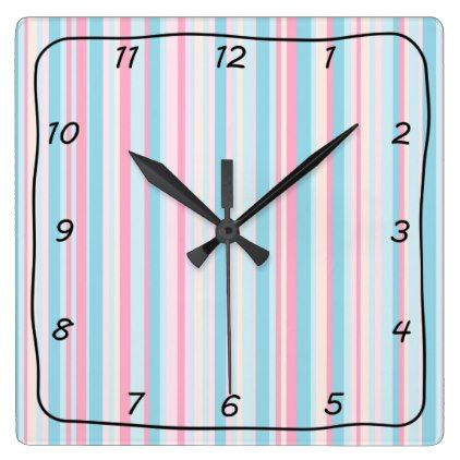 #pink - #PInk and Blue Striped Square Clock