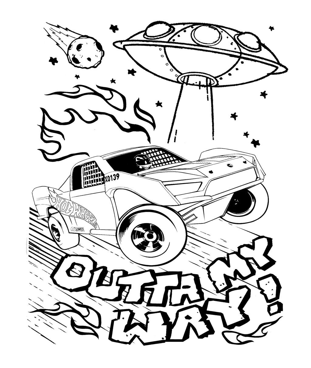 car wheels and alien spacecraft coloring page for kids kids