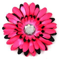 """Black+&+Hot+Pink+Two-Tone+Gerber+Daisy+Flower+Hair+Clip,+4"""""""