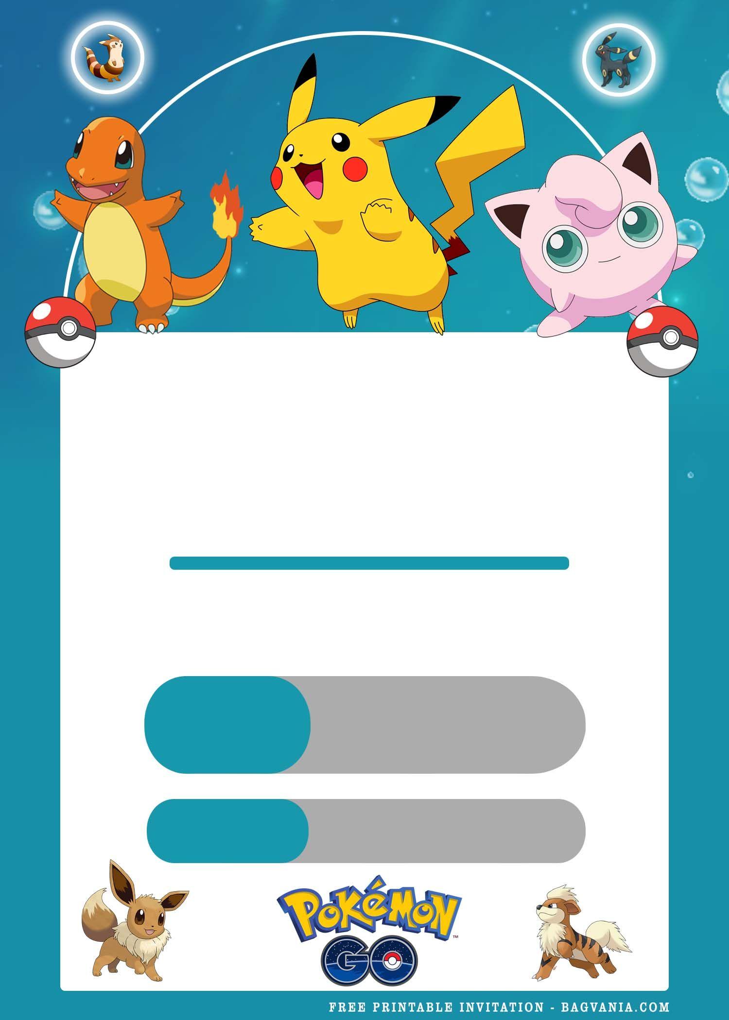 Free Printable Pokemon Birthday Invitation Templates Pokemon Birthday Birthday Invitation Templates Printable Birthday Invitations