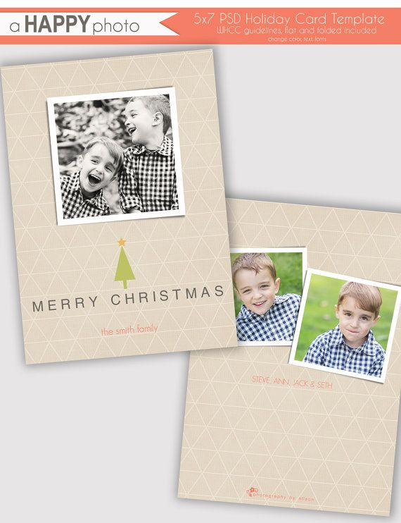 Triangle Linen Holiday Photo Card Template Photographers Psd Whcc 5x7 Flat And Fold Holiday Photo Cards Template Holiday Card Template Photo Card Template