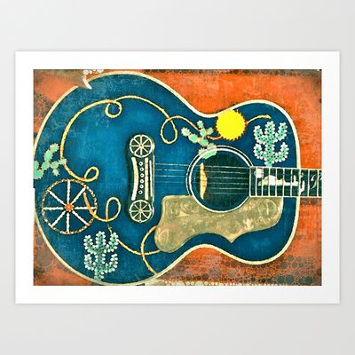 Old Western Guitar Art Print by ADH Graphic Design - $22.88