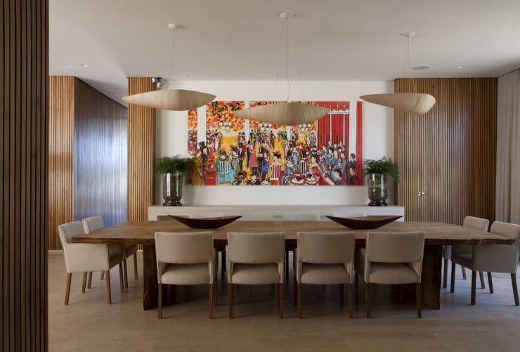 Residência Quinta da Baronesa: Salas de jantar translation missing: br.style.salas-de-jantar.moderno por Débora Aguiar
