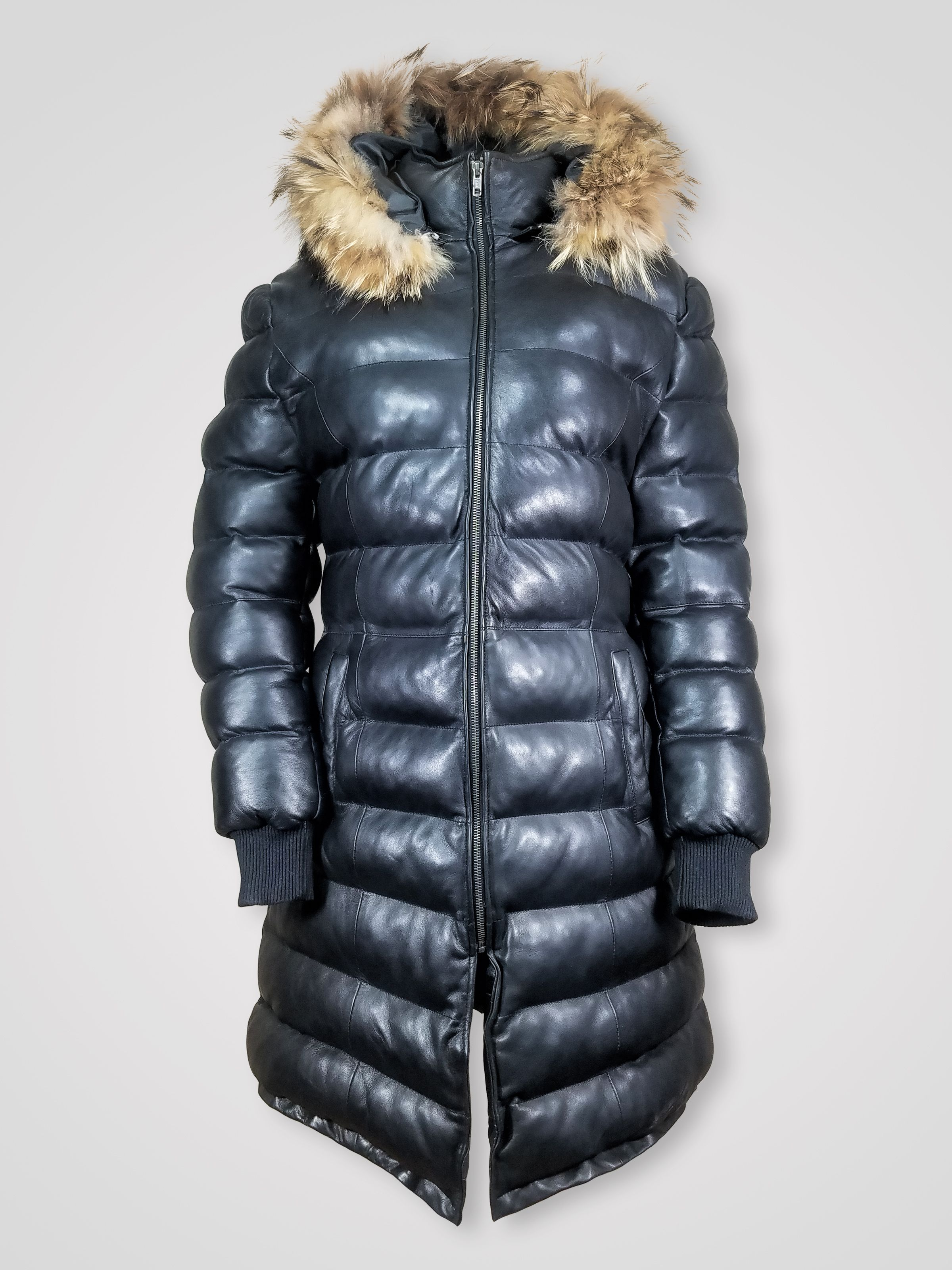 Women's long puffy bubble black leather jacket with hood