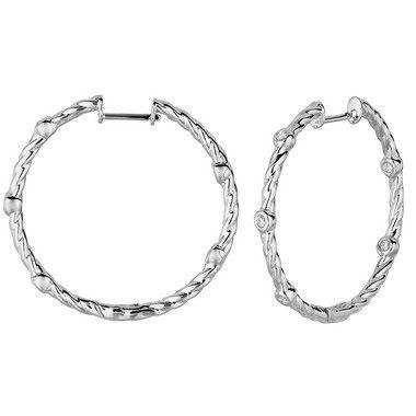 1773ab1b5f13 Jewelry Point - Unique Twist Diamond Inside Out Hoop Earrings 14k White Gold,  $1,190.00 (