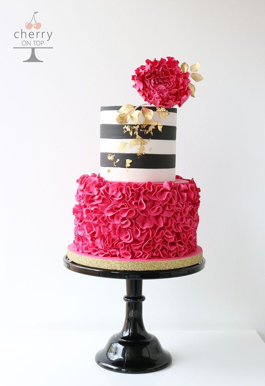 Fuchsia Ruffle Black White Stripe Gold Leaf White Birthday Cakes Pink Rose Cake Pink Birthday Cakes