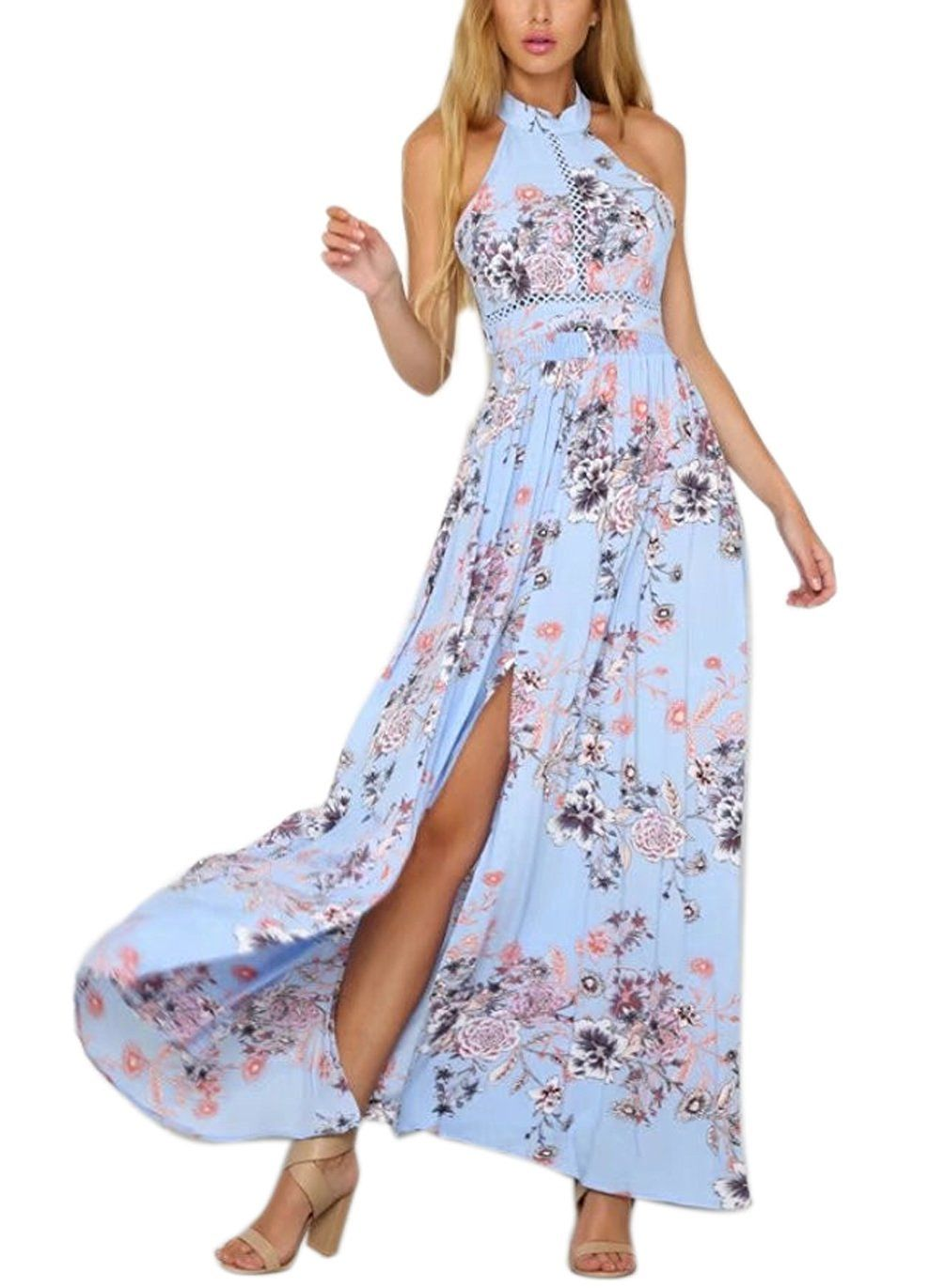 Fflmyuhuliu womenus sexy split floral offshoulder beach party maxi