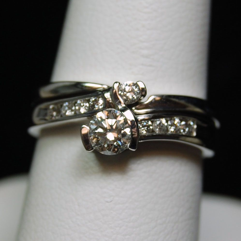 Wedding Channel | Wedding Rings 14k White Gold Two Piece Diamond Wedding  Ring Channel .