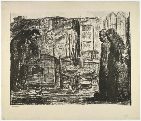 Käthe Kollwitz (German, 1867–1945)  The Homecoming (Die Heimkehr) [Poster for the Groß Berliner Arbeitsgemeinschaft für alkoholfreie Jugenderziehung (Working Committee of Greater Berlin for the Alcohol-Free Upbringing of Youth)]  Date:(c. 1927)Medium:Photolithograph