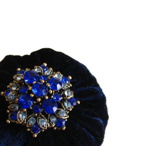 Navy Blue Pincushion filled with Emery Sand / Emery by NAKPUNAR, $14.99
