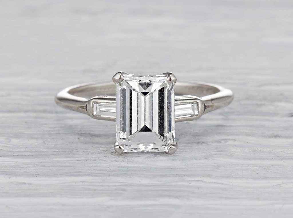 Antique Art Deco Engagement Ring Made In Platinum And Centered With