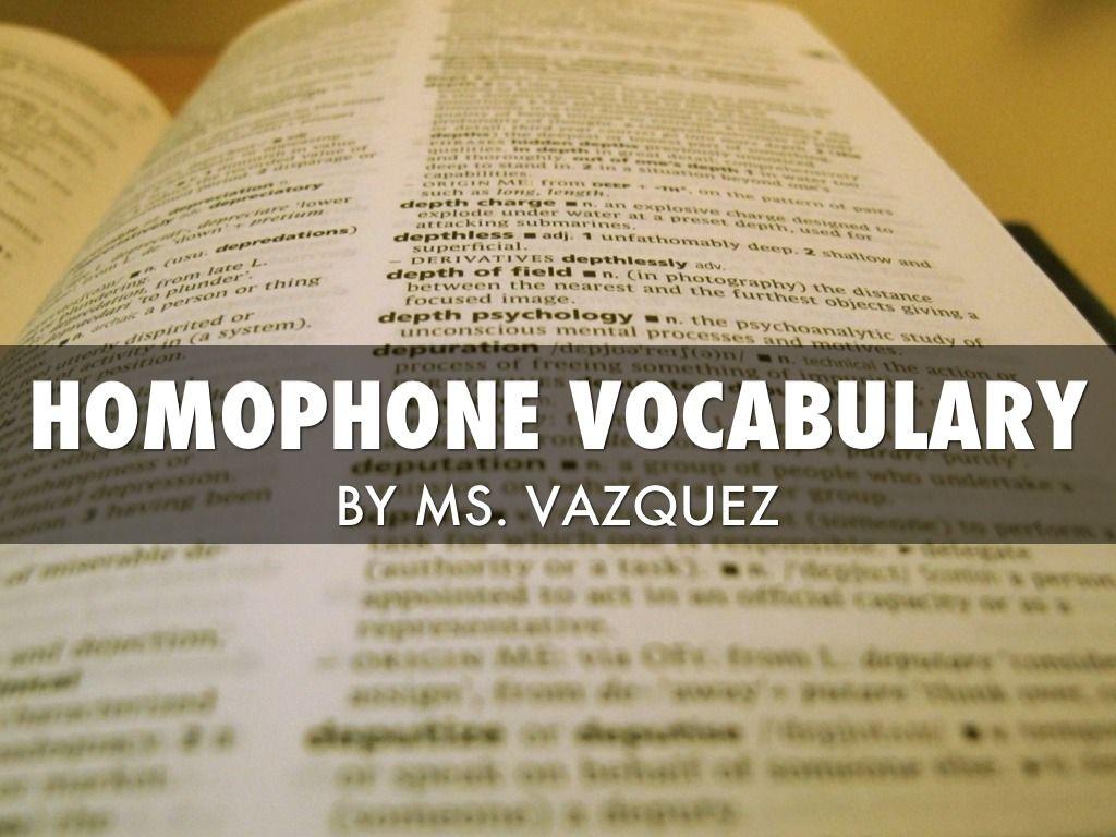 Homophone Vocabulary