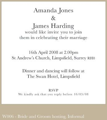 Examples Of Wedding Invitations From Bride And Groom Wording