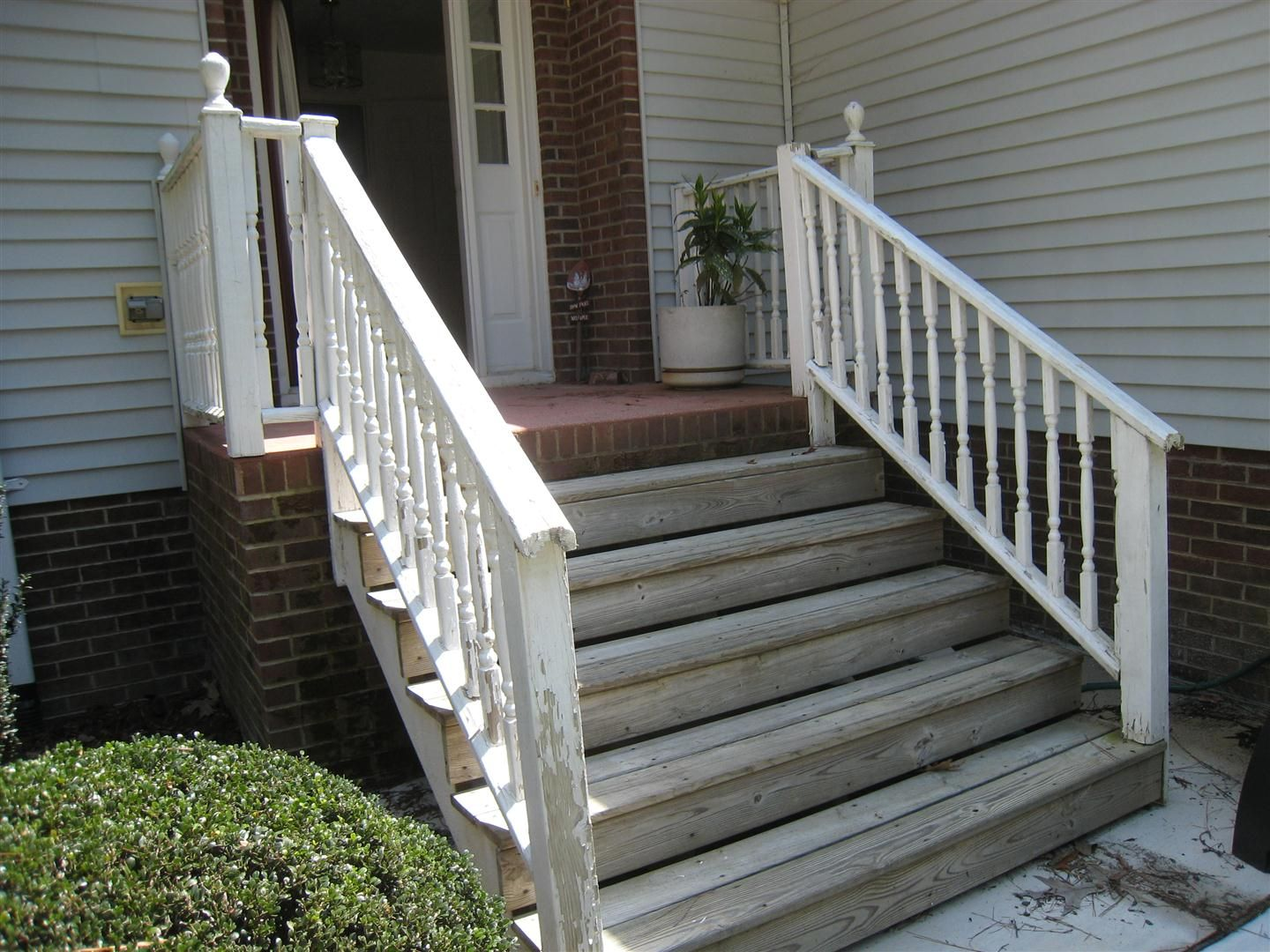 Wooden front porch step ideas brick pinned by for Wooden front porch designs