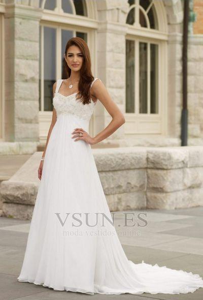 7befa7045 Vestido+de+novia+Corte+Imperio+Cintura+Marfil+Playa+Tiras+anchas+Informal