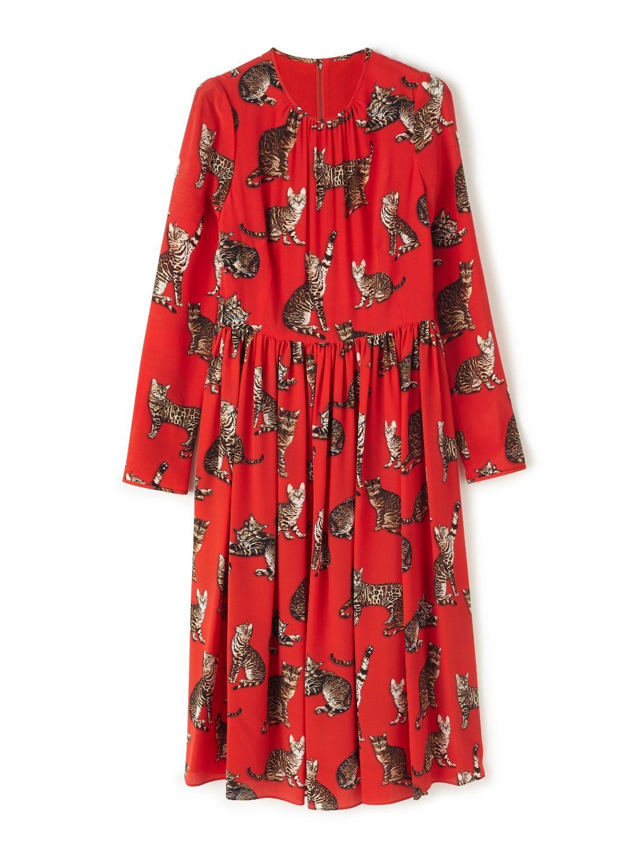Dolce & Gabbana Cat Print Red Midi Dress Image 0