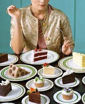 Kate Spade woman eating treats and cake